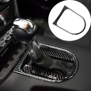 For Ford Mustang 2015 2017 Carbon Fiber Console Gear Shift Cover Sticker Trim
