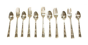 11pc Japanese 950 Sterling Silver Fork Spoon Set 20th Century