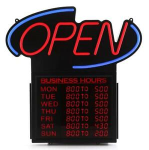 new Premier Pos Led Open Sign W Business Hours
