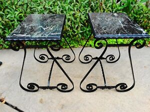 Pair Of Vintage Italian Wrought Iron And Black Green Marble Tables