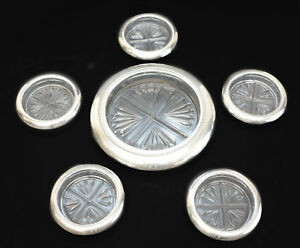 6pc Rb Rogers Sterling Silver Pressed Glass Cup Wine Bottle Coaster C1950