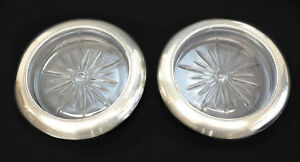 Pair Frank M Whiting Sterling Silver Pressed Glass Wine Bottle Coasters C1940