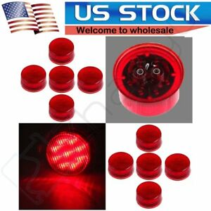 Set Of 10 Red 9led Truck Trailer Waterproof Side Marker Clearance Light 2 Round