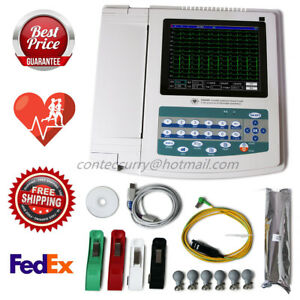 Ecg1200g 12 lead 12 channel Ekg ecg Machine Electrocardiograph pc Software Fda