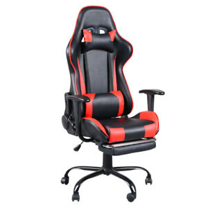 Red High Back Home Office Gaming Chair Computer Seat With Headrest