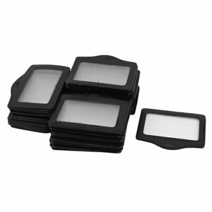 Faux Leather Horizontal Business Id Badge Card Holder Container Black 50 Pcs