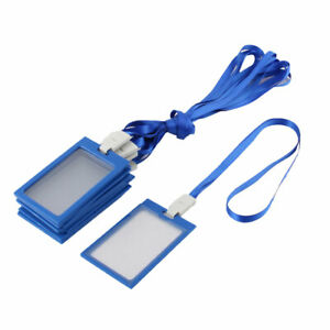 Plastic Vertical Id Name Tags Badge Card Holder Blue 10pcs W Neck Lanyard