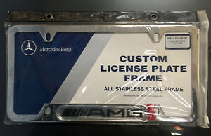 Mercedes benz Genuine Amg Stainless Steel License Plate Frame Amg Logo New