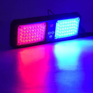 86 Led Emergency Beacon Warning Traffic Sun Visor Flashing Strobe Light Red Blue