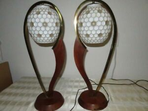 Pair Rare Majestic Danish Modern Sculptural Walnut Glass Globe Orb Table Lamps