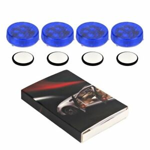 4pcs Blue Led Light Anti Collision Car Door Light Strobe Rearing Warning Light