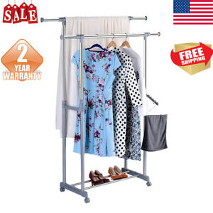 Double Rail Garment Rack Laundry Drying Rack In outdoor Clothing Hanging Rack Us