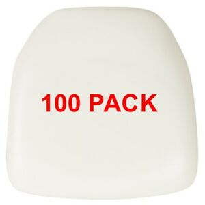 100 Pack Hard White Vinyl Chiavari Chair Seat Cushion For Resin Chairs