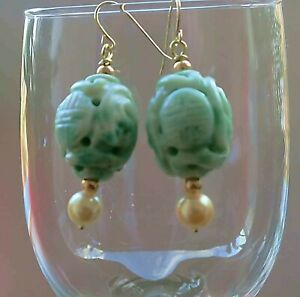 Vintage Chinese 14kt Gold Jade Moss In Snow Pearl Shou Dragon Earrings