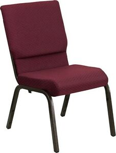 10 Pack 18 5 Wide Burgundy Fabric Stacking Church Chair With Gold Vein Frame