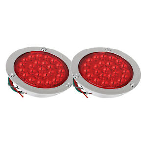 2pc 24led Red Round Reverse Stop Brake Turn Signal Rear Tail Light Truck Trailer