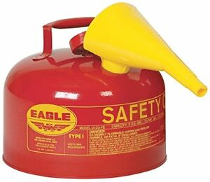 2 5 Gallon Safety Gas Can Eagle Ui 25 fs Type I Red Galvanized Funnel