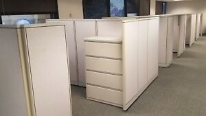 Herman Miller Office Cubicles With Sit And Stand Desk And Accessories