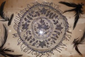 Antique Victorian Gothic Mourning Serving Tray W Feathers Cut Steel Beads Lace