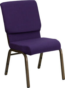 10 Pack 18 5 Wide Royal Purple Fabric Stacking Church Chair Gold Vein Frame