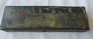 Vintage Wood Pen Pencil Painted Old School Box With Lock No Key 8 1 2 Long