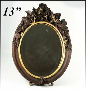 Antique Hc Wood Superb 13 Tall Black Forest Frame Vanity Mirror Stand Acorns