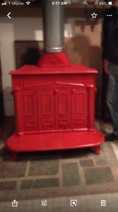 Wood Burning Franklin Stove Good Condition Antique