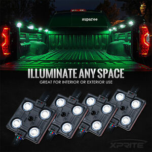 8pc Rgb Led Neon Strip Light Music Remote Control For Car Interior Lighting