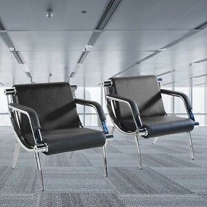 2pcs Reception Waiting Room Chairs Office Visitor Guest Stool Black W pu Leather