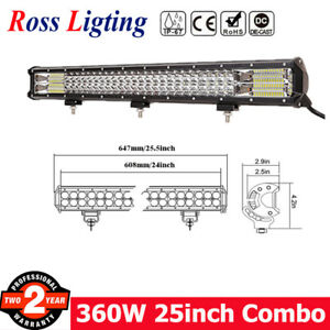26inch 360w Led Light Bar Spot Flood Combo Beam Tri Row Suv 4wd Driving Offroad