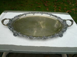 Vintage Oval Footed Sheffield Silverplate Tray 17 X 23 Grapes