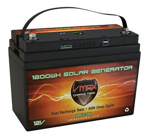 Vsg12b Vmax Agm Deep Cycle 12v 100ah Battery For Renogy Pv Solar Panels