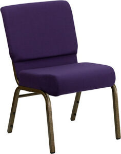 10 Pack 21 Wide Royal Purple Fabric Stacking Church Chair With Gold Vein Frame