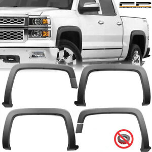 For 14 18 Silverado 1500 15 18 2500hd 3500hd Oe Style Fender Flares Trim Black