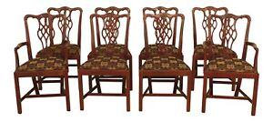L46505ec Set Of 8 Hickory Chair Co Chippendale Mahogany Dining Room Chairs