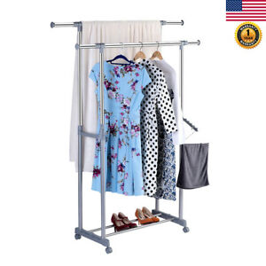 Double Heavy Duty Rail Adjustable Garment Rack Rolling Clothes Hanger shoe Rack