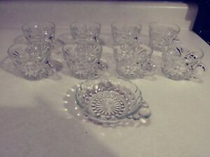 8 Vintage Glass Tea Cups And 1 Dish