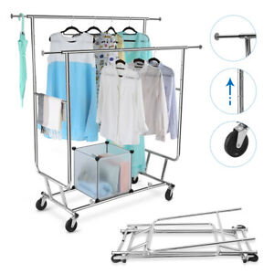 250lb Double Rail Rolling Garment Rack Collapsible Clothes Shelf Chrome Portable