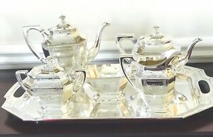 Antique Wallace Sterling Silver Dauphine 6 Pc Tea Set W Waste Tray No 2300