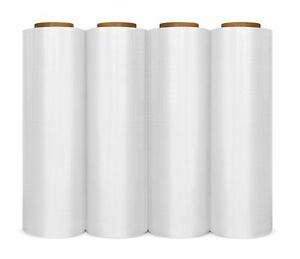 4 Rolls 18 6000 3 Core 80 Gauge Industrial Shrink Wrap Plastic Stretch Film
