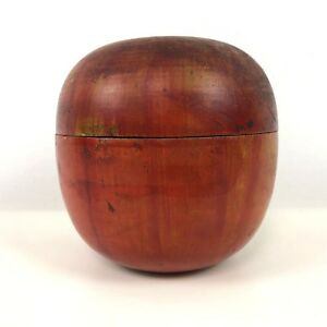 Early 1900 S Turned Wood Painted Apple Shape Box String Dispenser