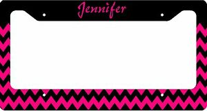 Personalized License Plate Frame Custom Car Tag Hot Pink Black Chevron