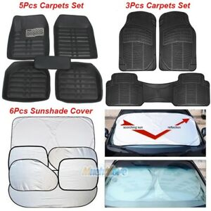 5pc Car Floor Mats Front Rear Carpet Universal Auto Mat All Weather Waterproof