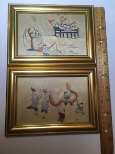 2 Vintage Chinese Silk Embroidery Children Play In Garden Framed Art Collectible