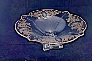 Antique Cut Glass Reversed Painted Silver Laced Bowl