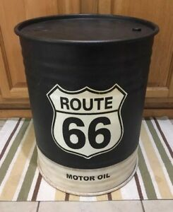 Route 66 Trash Can Waste Basket Motor Oil Can Vintage Style Ford Truck Car Metal