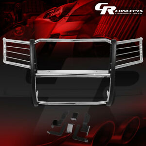 Ss Stainless Front Bumper Headlight grille Brush Guard Set For 11 14 Gmc Sierra