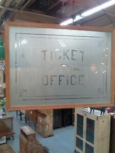 Vintage Etched Glass Ticket Office Window Booth Clear Stain Glass Advertising