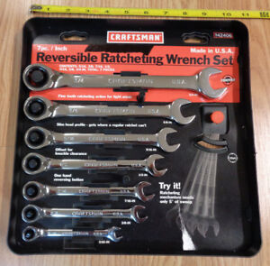 Usa Made Craftsman Sae Inch Reversible Ratcheting Wrench Set 7 Pc Ratchet