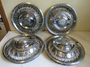 Vintage Set Of 4 1962 64 Chevy Corvair Chevy Ii Nova Wire Wheel Spinner Hubcaps